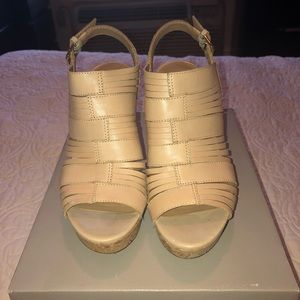 Franco Sarto beige wedge sandals